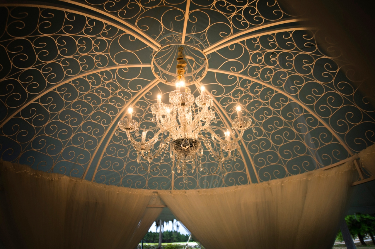 The chandelier inside the gazebo.